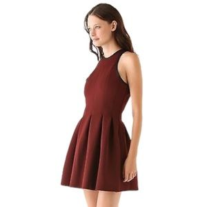 T by Alexander Wang Maroon Pleated Skater Dress - Women's Size Small